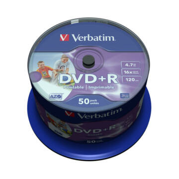 Verbatim DVD+R 16X Teljes Felületén Nyomtatható Lemez - Cake (50)