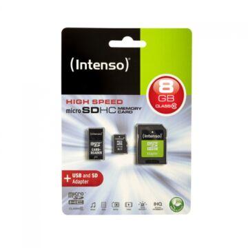 Intenso 16GB Micro SDHC Memóriakártya Class 10 + Adapter