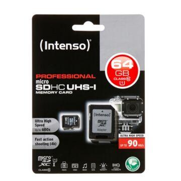 Intenso 64GB Micro SDXC Memóriakártya UHS-I Professional Class 10