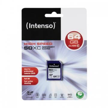 Intenso 64GB SDXC Memóriakártya Class 10