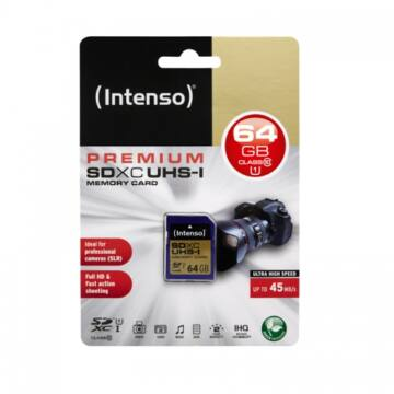 Intenso 64GB SDXC Memóriakártya UHS-I Premium Class 10