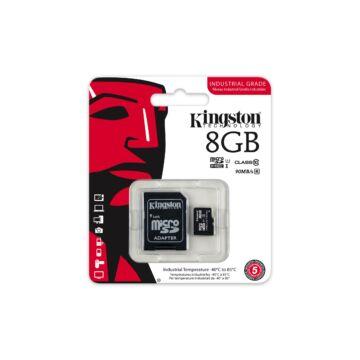 Kingston 8GB Micro SDHC Memóriakártya UHS-I Industrial Temp (90/45 Mb/S) + Adapter