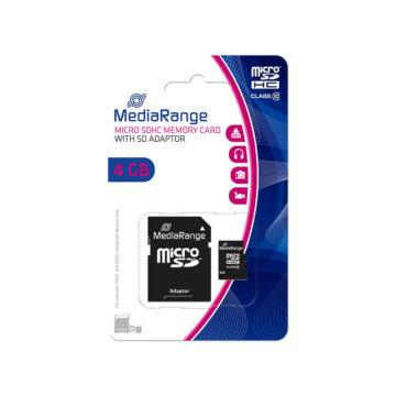 Mediarange 4GB Micro SDHC Memóriakártya Class 10 + Adapter