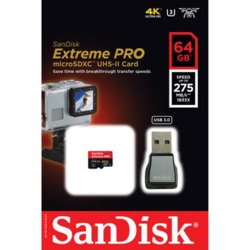 SanDisk Extreme Pro 64GB Micro SDXC Memóriakártya UHS-Ii U3 Class 10 (275 Mb/S) + USB 3.0 Adapter (SDSQXPJ-064G-GN6M3)