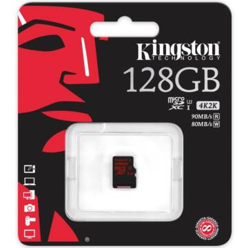 Kingston 128GB Micro SDXC Memóriakártya UHS-I Class U3 (90/80 Mb/S) (SDCA3/128GB)