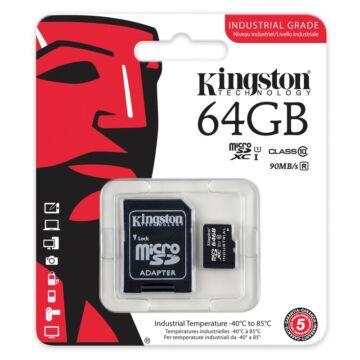 Kingston 64GB Micro SDXC Memóriakártya UHS-I Industrial Temp (90/45 Mb/S) + Adapter