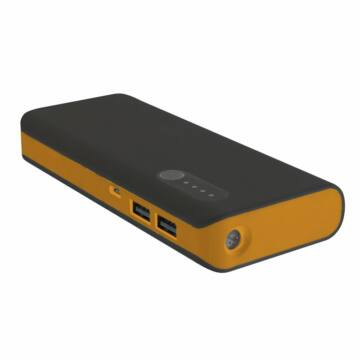 PLATINET POWER BANK 13000mAh + microUSB cable + torch BLACK/ORANGE [42898]