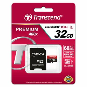 Transcend 32GB Micro SDHC Memóriakártya UHS-I Class 10 (60 Mb/S) + Adapter