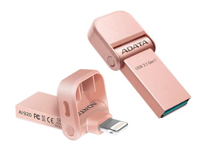 Adata I-Memory Ai920 32GB Pendrive USB 3.1 És Lightning Csatlakozóval, Apple iPhone És Ipad Készülékekhez - Rozéarany