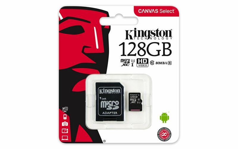 Kingston Canvas Select 128GB microSD memóriakártya + SD adapter Class 10 UHS-I (80MB/s olvasás) SDCS/128GB