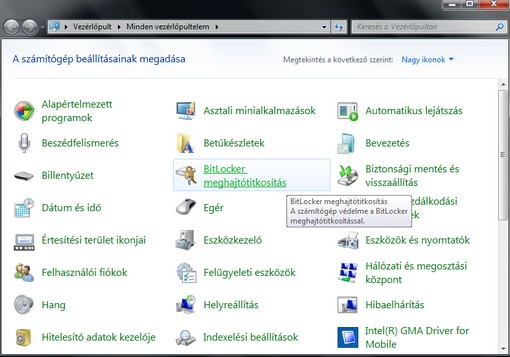 BitLocker Vezérlőpult