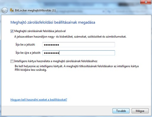 BitLocker jelszó megadás