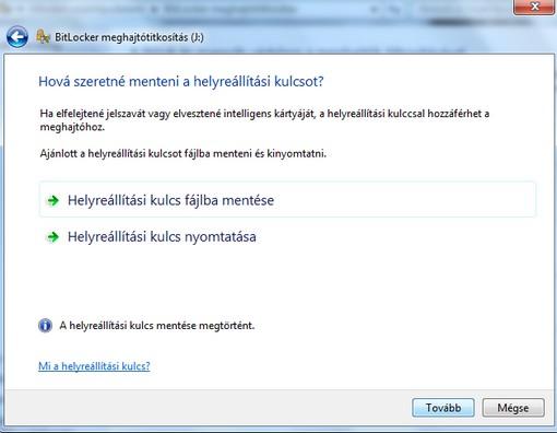 BitLocker helyreállítási kulcs