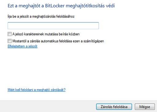 BitLocker zárolás feloldása