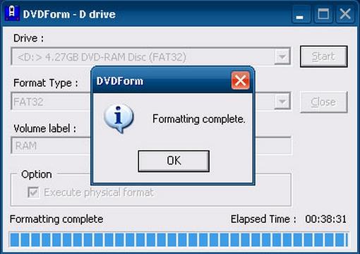 DVD-RAM formázása