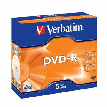 Verbatim DVD-R 16X Azo Lemez, Réteg - Normál Tokban (5) - 43519