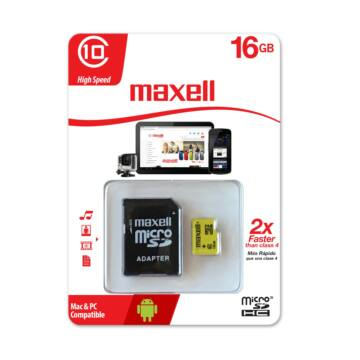 Maxell 16GB Micro SDHC Yellow Memóriakártya Class 10 + Adapter - 855049.00.CN