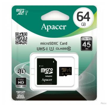 APACER MICRO SDXC + ADAPTER 64GB CL10 UHS-I U1 (45 MB/s olvasási sebesség)