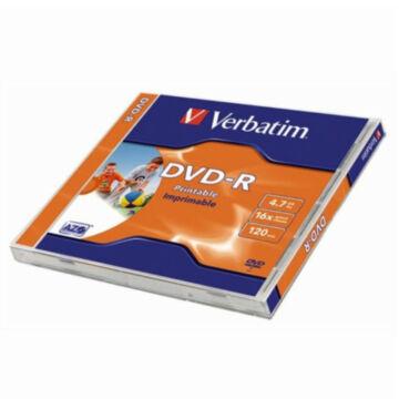 43521 VERBATIM DVD-R Nyomtatható Lemez 16X 4,7GB Normál tokban 1db