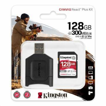 KINGSTON CANVAS REACT PLUS SDXC + KÁRTYAOLVASÓ 128GB CL10 UHS-II U3 V90 (300 MB/s olvasási sebesség)