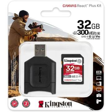 KINGSTON CANVAS REACT PLUS SDXC + KÁRTYAOLVASÓ 64GB CL10 UHS-II U3 V90 (300 MB/s olvasási sebesség)