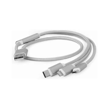 CC-USB2-AM31-1M-S Gembird 3in1 USB kábel - Apple lightning, microUSB, TypeC [1m] ezüst