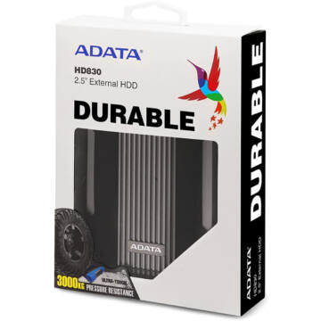 "Adata HD830 2TB HDD 2,5"" IP68 Külső Merevlemez [USB 3.2 Gen1]  AHD830-2TU31-CBK"