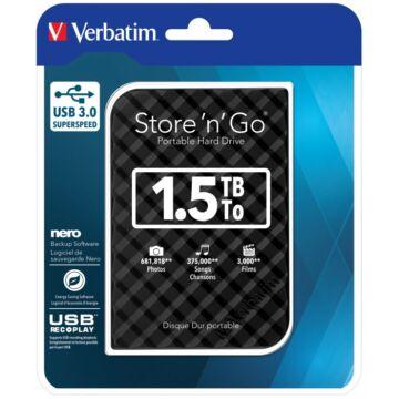 """Verbatim 1,5TB HDD 2,5"""" Külső Merevlemez, USB 3.0 Fekete"""