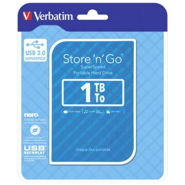 """Verbatim 1TB HDD 2,5"""" Külső Merevlemez, USB 3.0, Kék - 53200"""