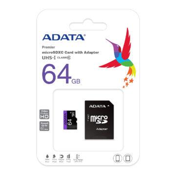 Adata Premier 64GB Micro SDXC Memóriakártya Class 10 + Adapter (AUSDX64GUICL10-RA1) - AUSDX64GUICL10_RA1