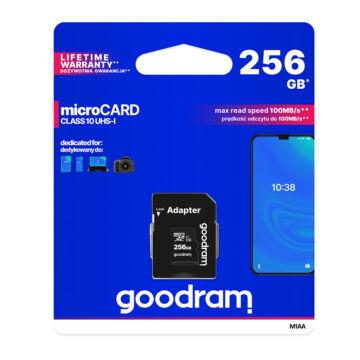 M1AA-2560R12 Goodram 256GB microSD memóriakártya UHS-I + Adapter (R12)