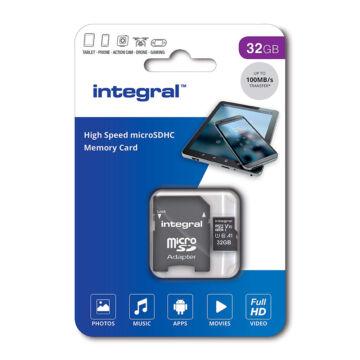 Integral 32GB Micro SDHC INMSDH32G-100V10 memóriakártya [100 MB/s] + Adapter