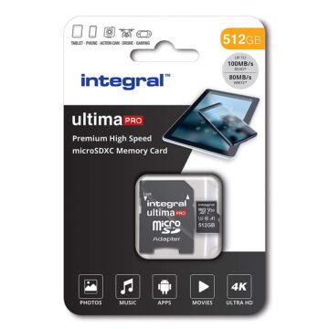 Integral 512GB Micro SDXC [100/80 MBps] U3 V30 A1 INMSDX512G-100/80V30