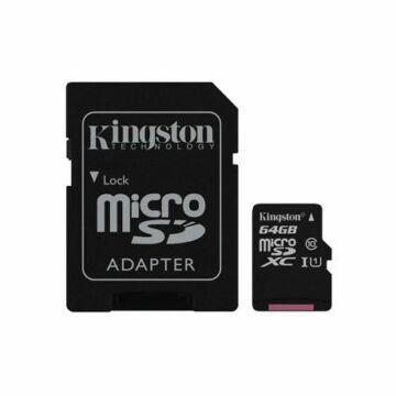 Kingston 64GB Micro SDXC Memóriakártya UHS-I U1 Class 10 + Adapter (45/10 Mb/S) (SDC10G2/64GB) - SDC10G2_64GB