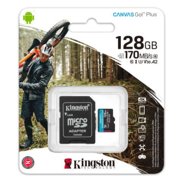 SDCG3/128GB Kingston 128GB Canvas Go! Plus (A2) U3V30 UHD microSD (170MB/s) + Adapter