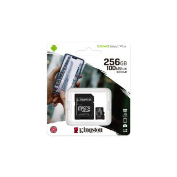 Kingston Canvas Select Plus 256GB microSD memóriakártya + Adapter