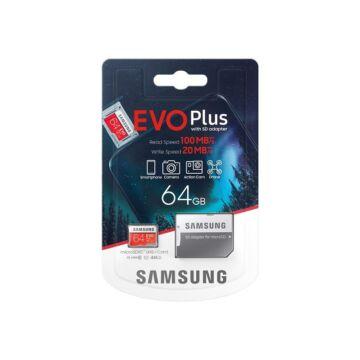SAMSUNG EVO PLUS MICRO SDXC + ADAPTER 64GB CL10 UHS-I U1 (100 MB/s olvasási sebesség)