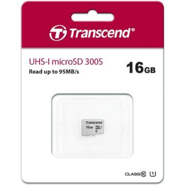 Transcend 16GB Micro SDHC Memóriakártya [95MB/S] USD300S TS16GUSD300S