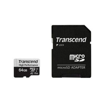 Transcend 64GB Micro SDXC Memóriakártya U3 A2 [100/60MBps]  + Adapter TS64GUSD330S