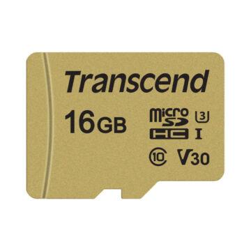Transcend 16GB Micro SDHC Memóriakártya [95MB/S] USD500S