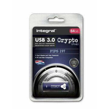 INFD8GCRYDL3.0197 Integral 8GB CRYPTO DUAL USB 3.0 FIPS 197 AES 256-bites titkosítás - Kék