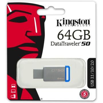 Kingston Dt50 64GB Pendrive USB 3.0 - Kék (DT50/64GB) - DT50_64GB