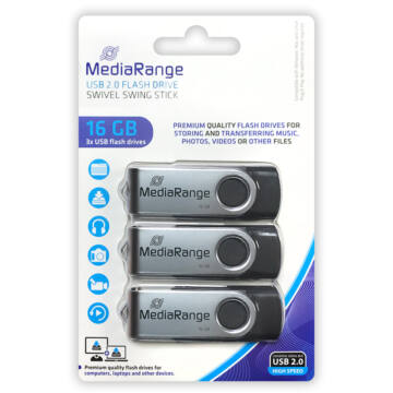 MR910-3 Mediarange 16GB USB 2.0 Pendrive Pack 3