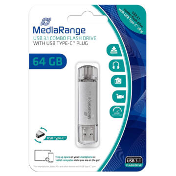 Mediarange 64GB Combo Pendrive [USB 3.0 + Type-C]