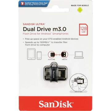 SanDisk Ultra Dual Drive M3.0 128GB Pendrive OTG - USB 3.0 + Micro USB - Android Telefonokhoz, Tabletekhez (SDDD3-128G-G46) - SDDD3_128G_G46