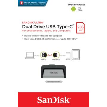 SANDISK ULTRA PENDRIVE 256GB USB Type-C Ezüst