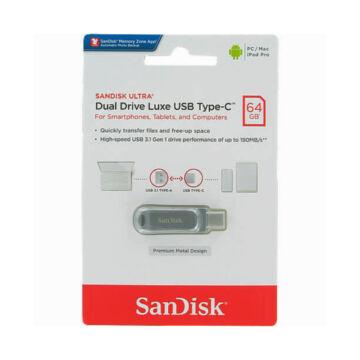 SDDDC4-064G-G46 SANDISK ULTRA DUAL DRIVE LUXE PENDRIVE 64GB USB Type-C Ezüst