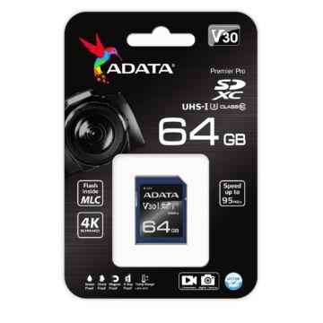 ASDX64GUI3V30S-R ADATA Premier Pro 64GB SDXC Memóriakártya UHS-I U3 (V30S) [95/60MBps]