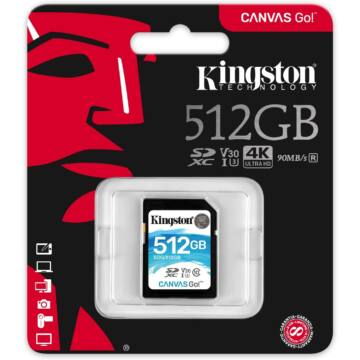 Kingston 512GB Canvas Go SDXC Memóriakártya (90/45 Mb/s) - SDG/512GB