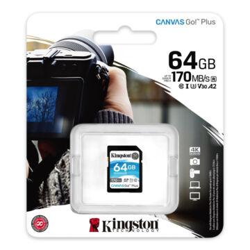 Kingston 64GB Canvas Go SDXC U3 V30 memóriakártya (170R/70W) SDG3/64GB